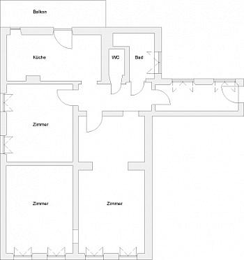- Sanierte schöne 110m² 3 Zi Altbauwohnung-Morogasse