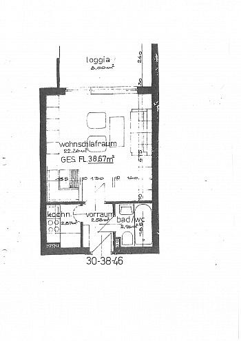 Küche kleine ruhige - Garconniere 38m² mit XL Loggia in Waidmannsdorf