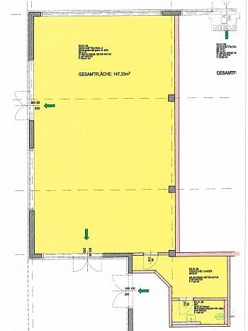 Einheit Westen sofort - Geschäftslokal/Büro/Cafe 147m² im Fußballstadion