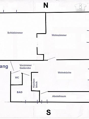 Wohnzimmer Warmwasser Wohnküche - Helle 2-Zi-Wohnung in Waidmannsdorf